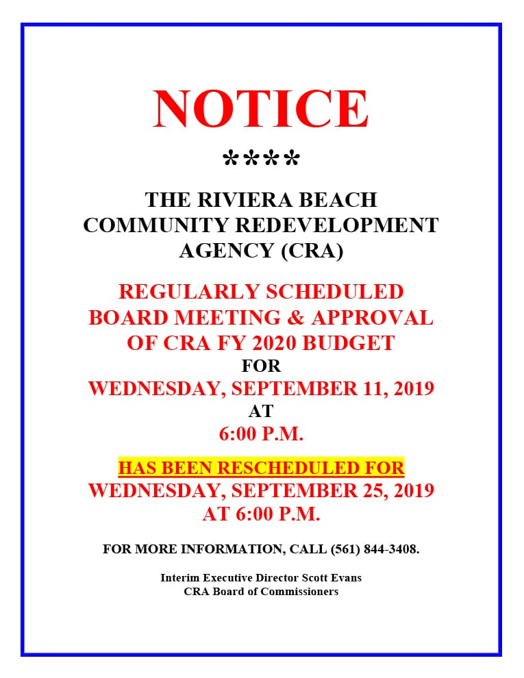 rbcra board meeting sept 25, 2019